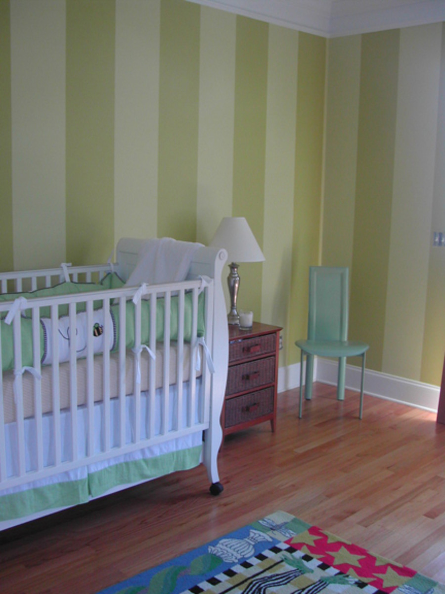 Using two shades of green makes these stripes more subtle.  Photo courtesy of mekdesigns.com.
