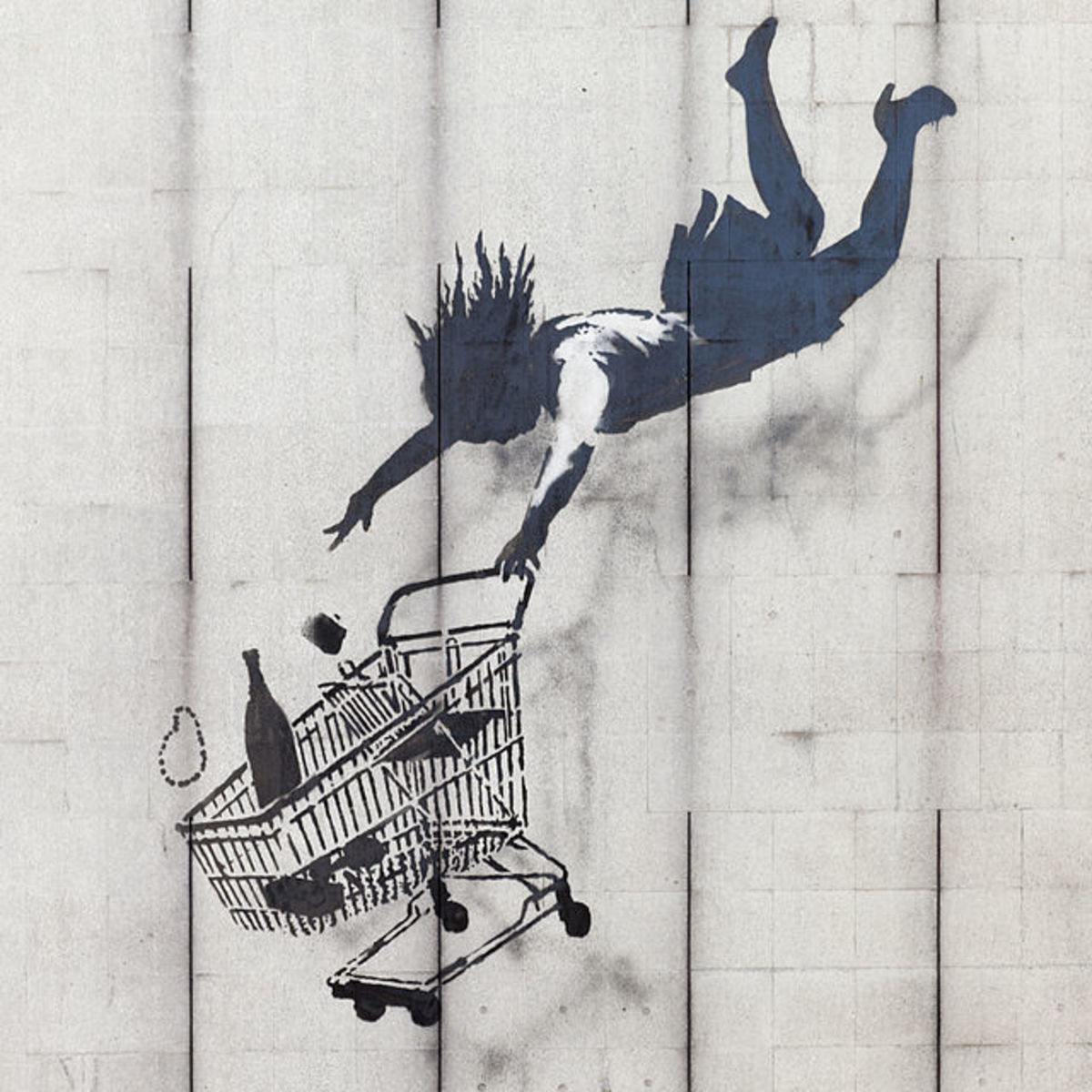 Shop Until You Drop by Banksy.  This mural is in Mayfair, London.  Beginning in Bristol, England, Banksy's work can now be found across many cities in the UK and around the world.
