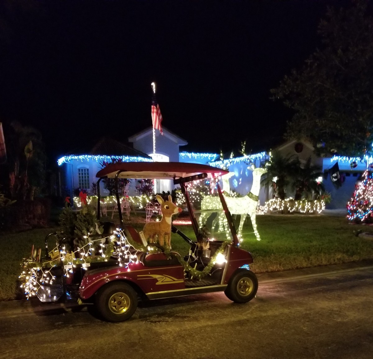 Once decorated, your golf cart makes a fine lawn ornament for your seasonal display. Take it for a ride too or join a parade.