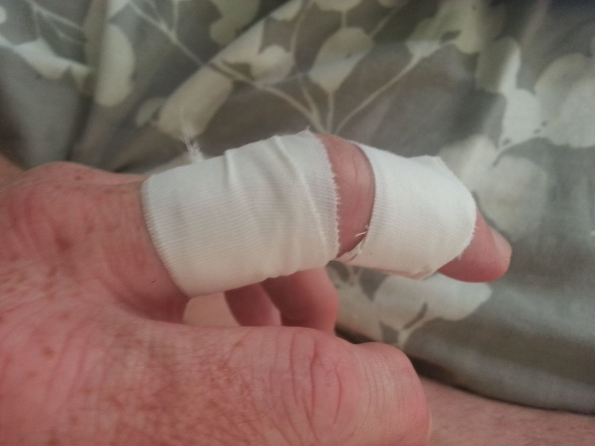 Ahhh, much better.  Finger's taped for BJJ