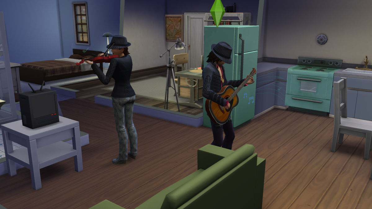"""Learn everything you need to know about the music skills in """"The Sims 4."""" Soon, your Sims will be practicing as hard as these two."""