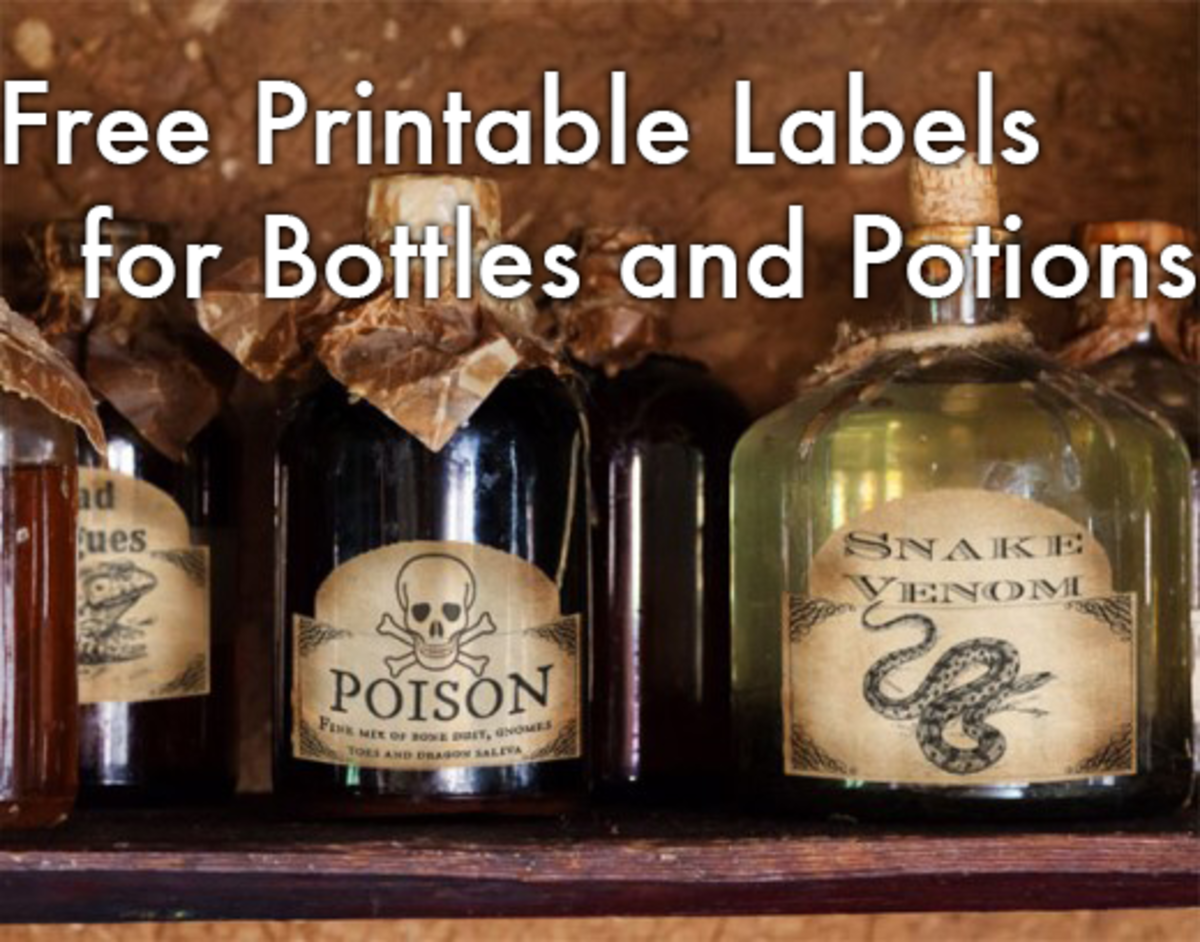 Printable Labels for Bottles and Potions from Two Crafty Paws