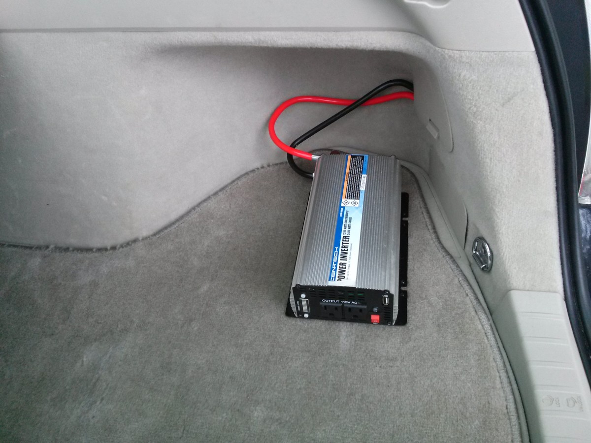A power inverter installed in the hatch of a Toyota Prius.