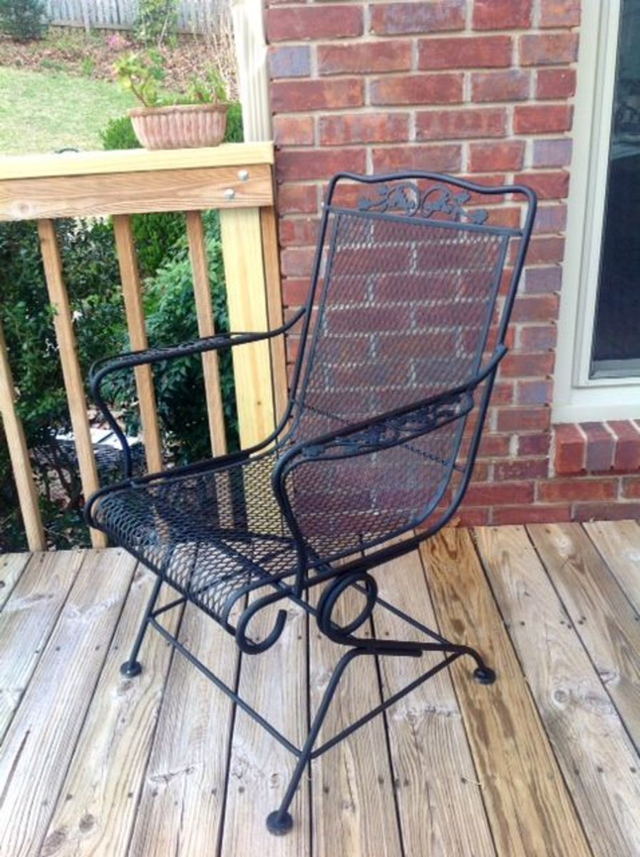 Repainted Wrought Iron Chair On My Deck