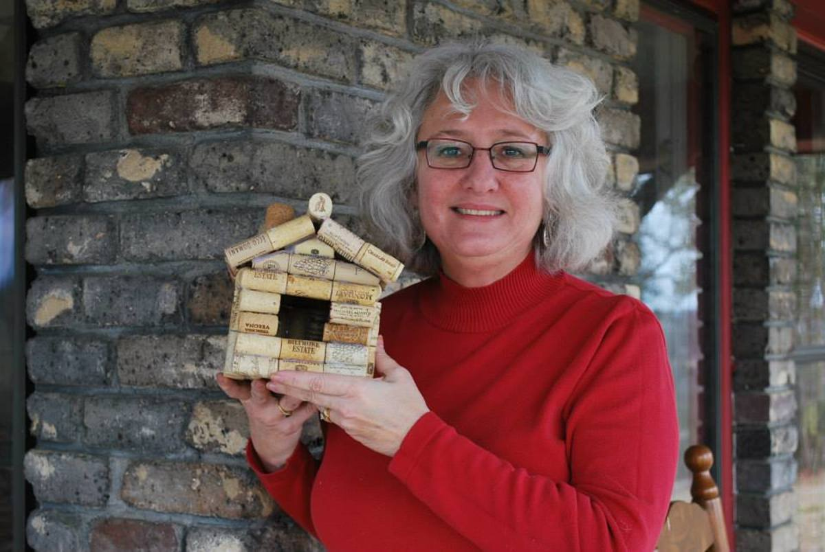My friend is so very proud of her birdhouse she made with recycled wine corks! Birds won't whine when they move into this house!