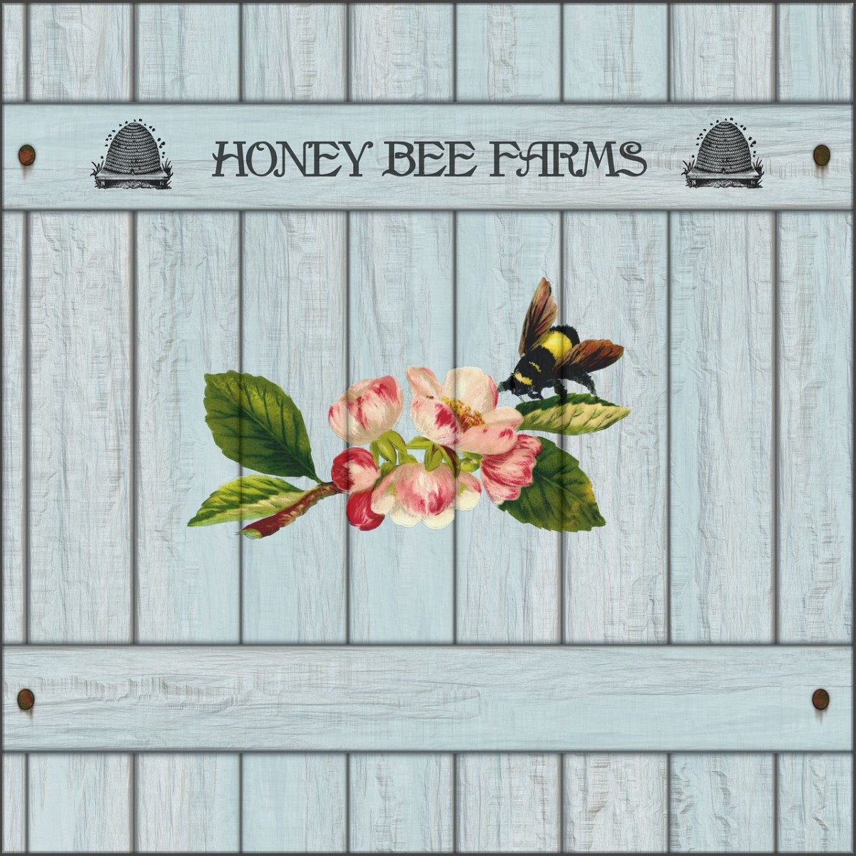 This charming wood sign displays the name Honey Bee Farm with appropriate graphics of bee hives and a bee with some flowers.