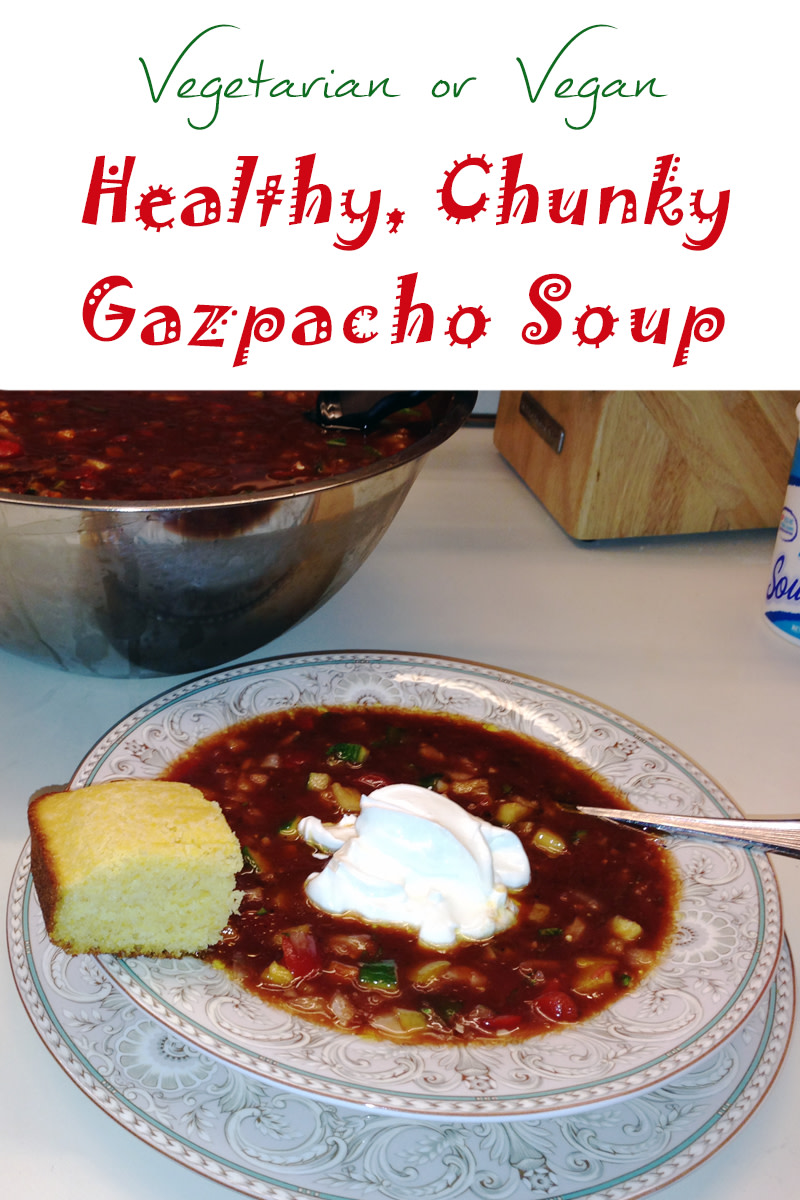 My chunky vegetarian or vegan gazpacho soup is healthy, refreshing, and filling.