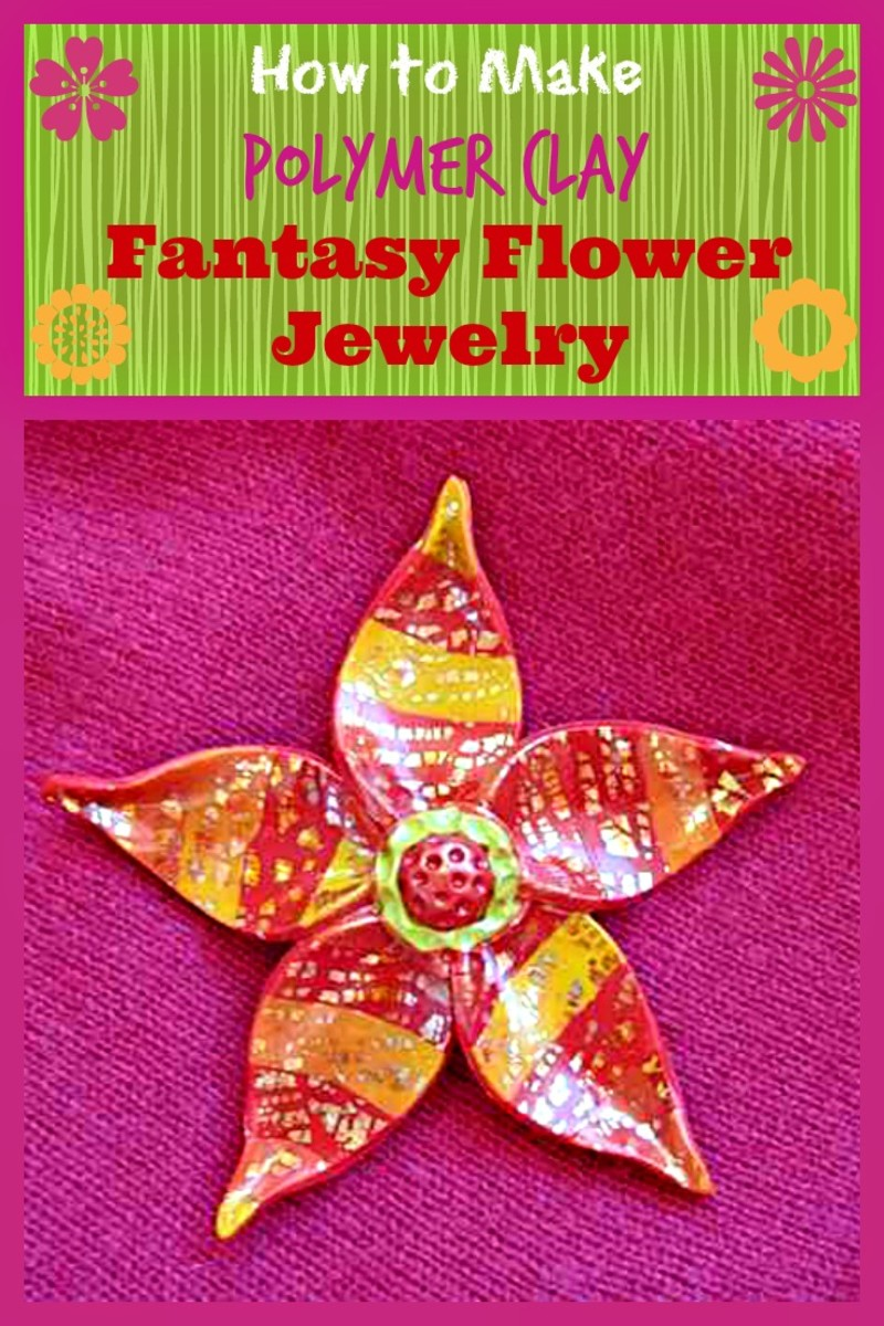 Polymer Clay Fantasy Flower Brooch/Pin, Earrings or Ring Tutorial