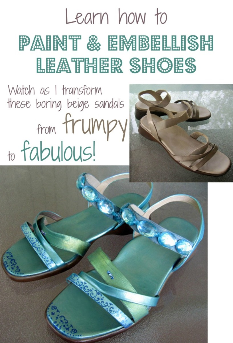 Learn how I created this fabulous fashion makeover that transformed a pair of boring beige leather comfort sandals into fashionable footwear with simple painting, stenciling and embellishing techniques.
