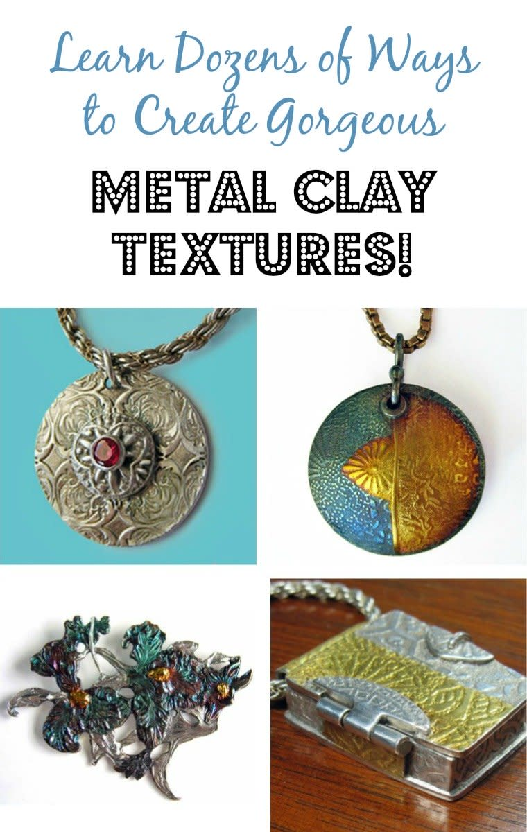 This comprehensive metal clay textures guide includes dozens of ways to impress dimensional patterns to make unique metal jewelry.