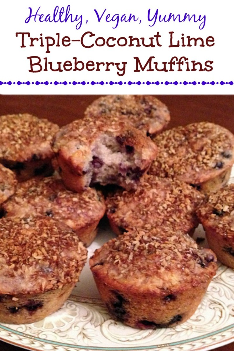 Healthy Vegan Triple-Coconut Lime Blueberry Muffins With Streusel Topping