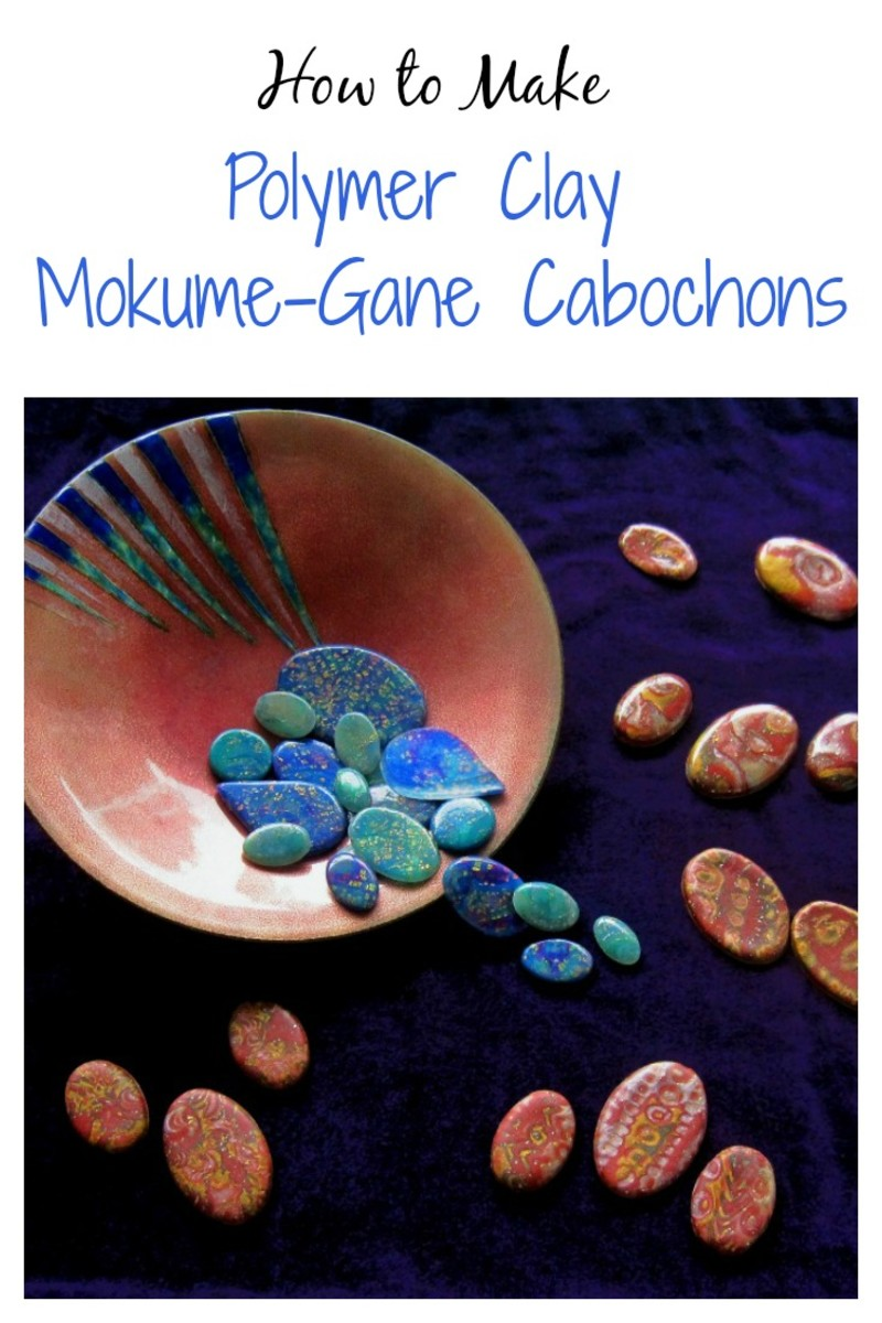 Make Gemstone-Like Polymer Clay Mokume Gane Cabochons for Jewelry
