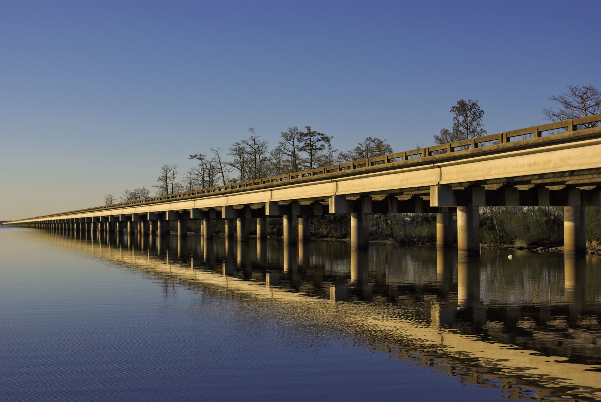 The I-10, running west of New Orleans, spans the Bonnet Carre Spillway at Lake Pontchartrain.