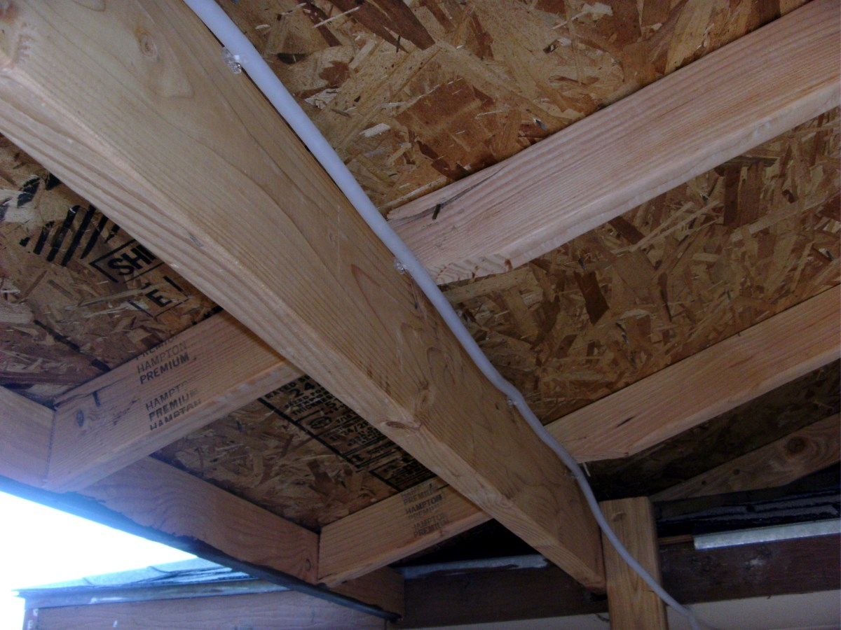 Lower end of rafter, inside view.