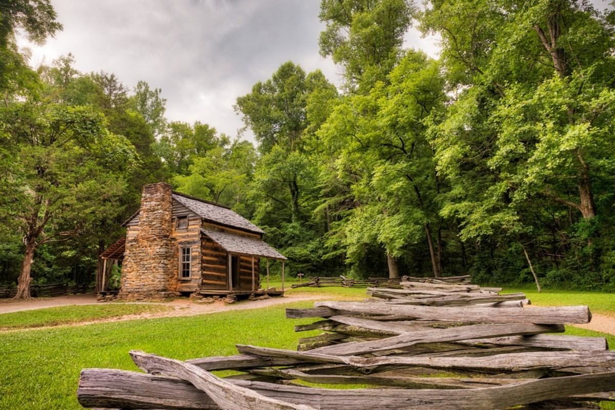 John Oliver's cabin at Cades Cove in the Smoky Mountain National Park depicts a rustic and picturesque view of Appalachian life.