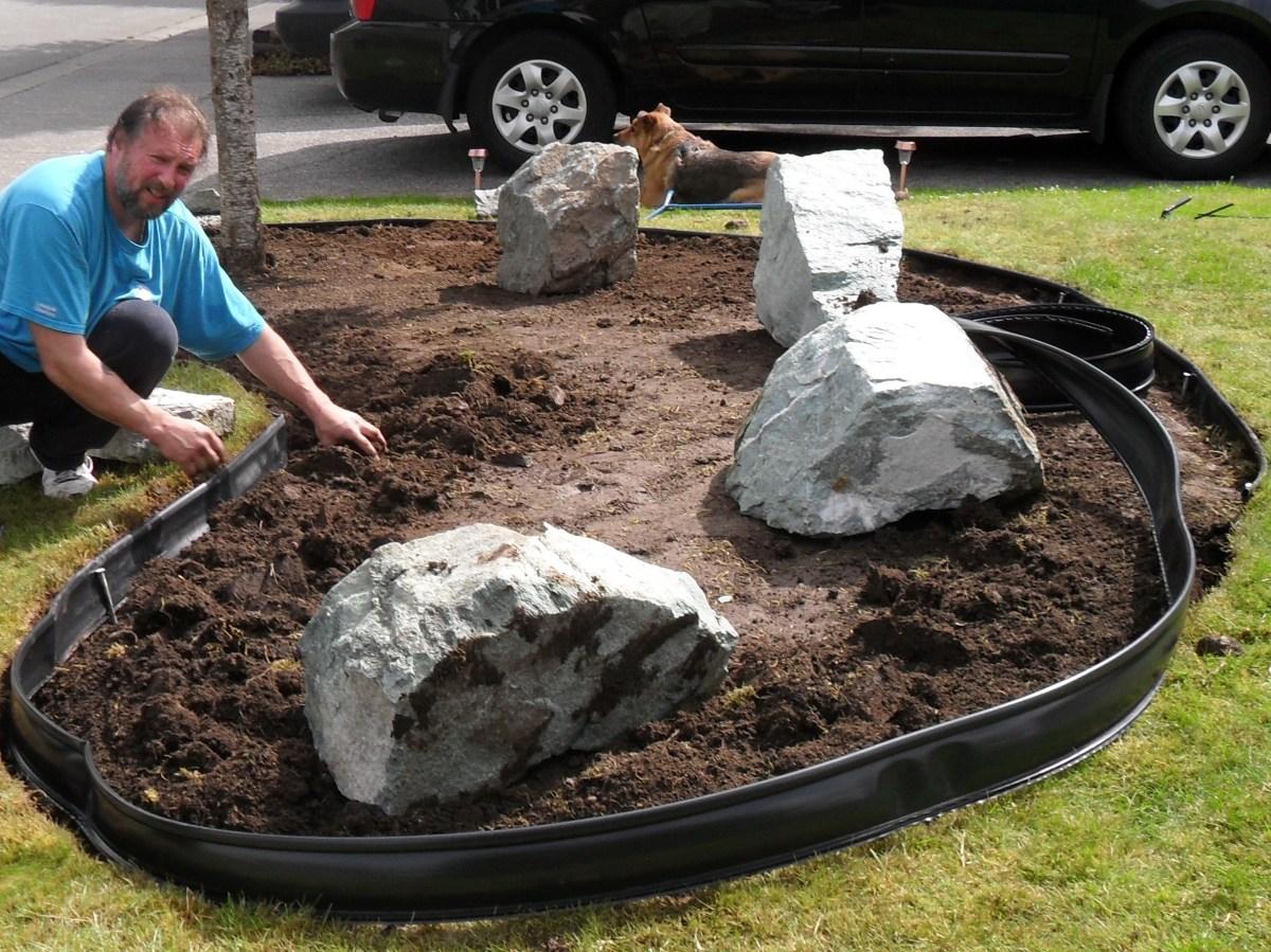 Installing Edging in Our Rock Garden