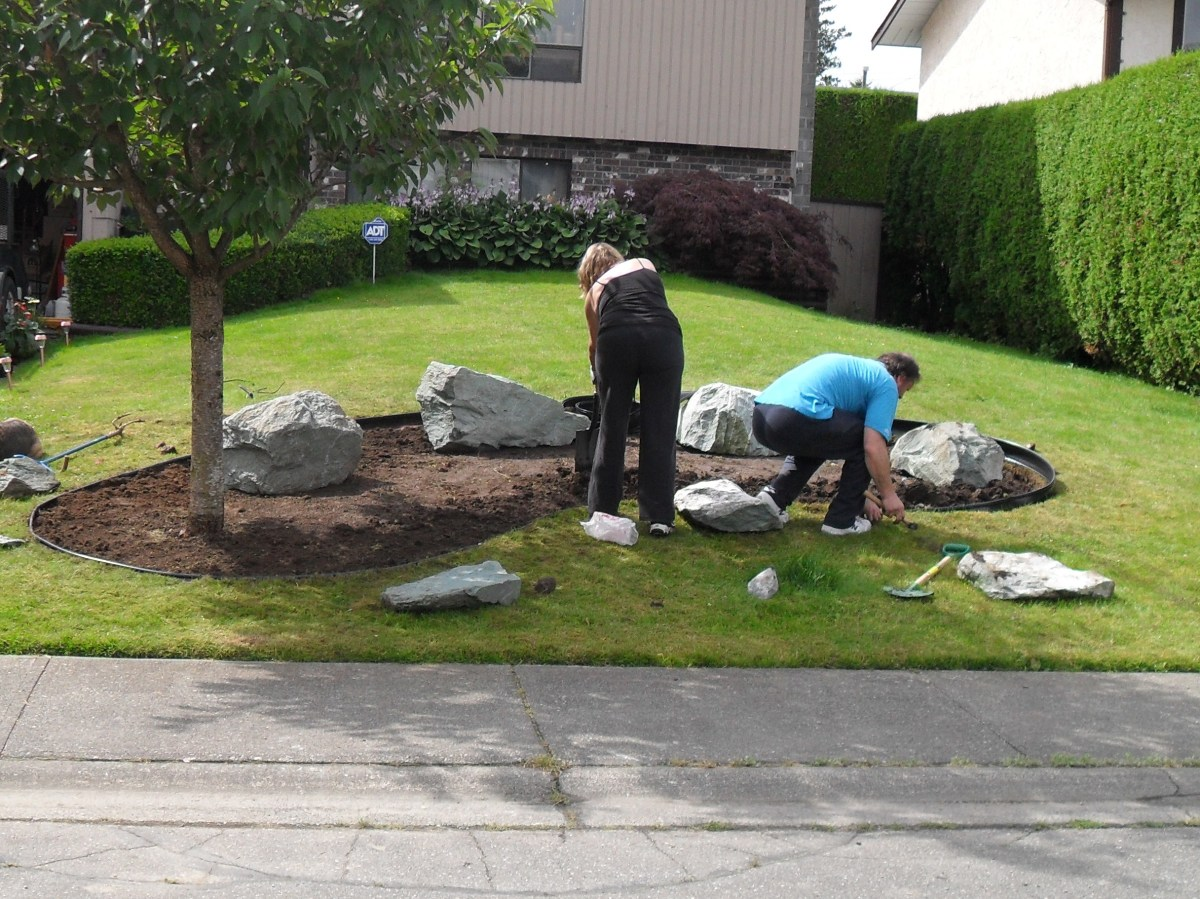 Installing Edging in Our Rock Garden