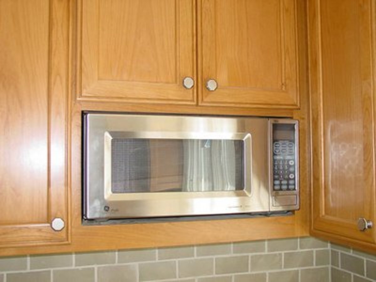 """microwave oeven in 12"""" deep Upper Cabinet Without Trim Kit"""