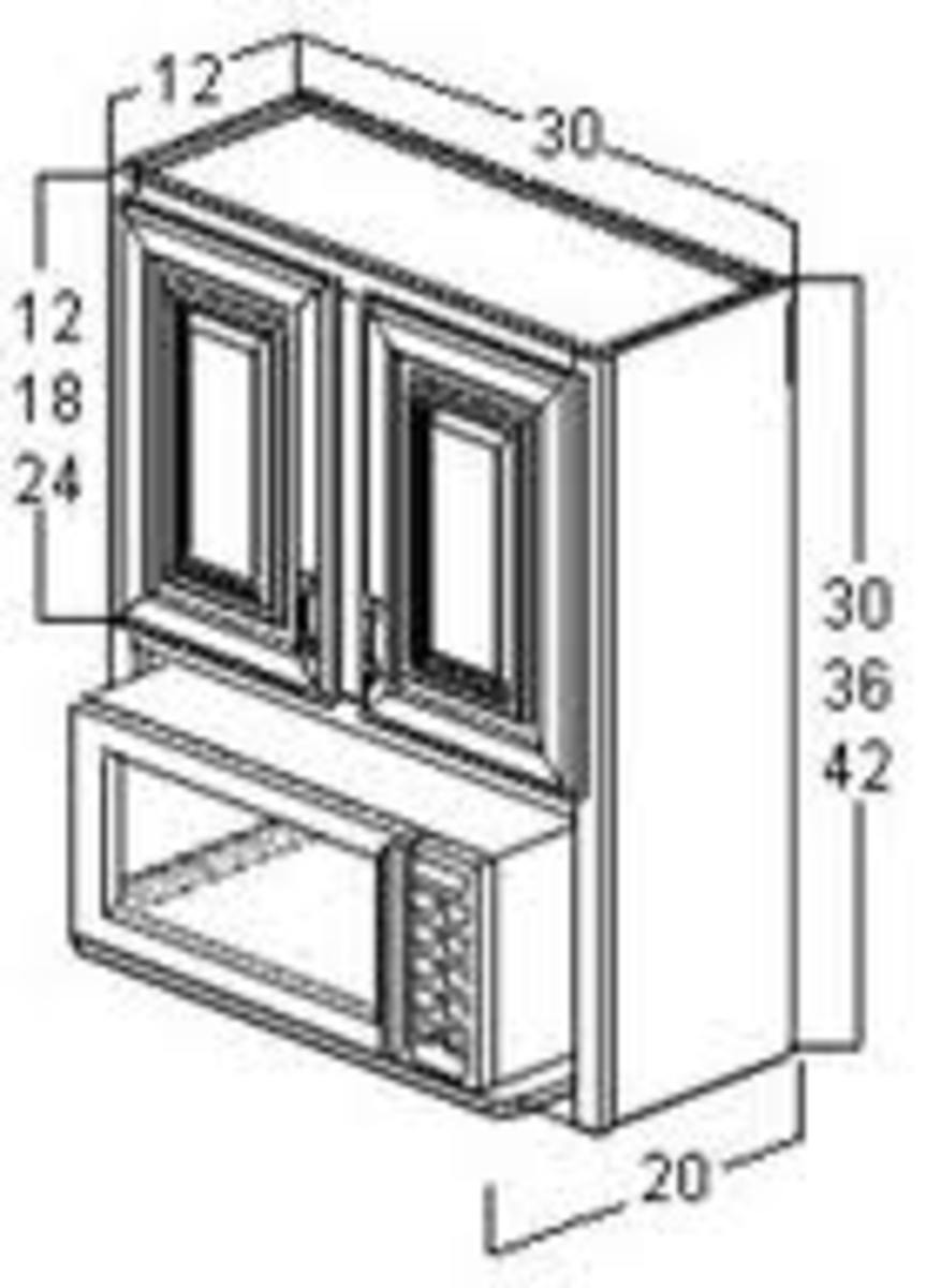 microwave oven and cabinet pencil drawing with measurements