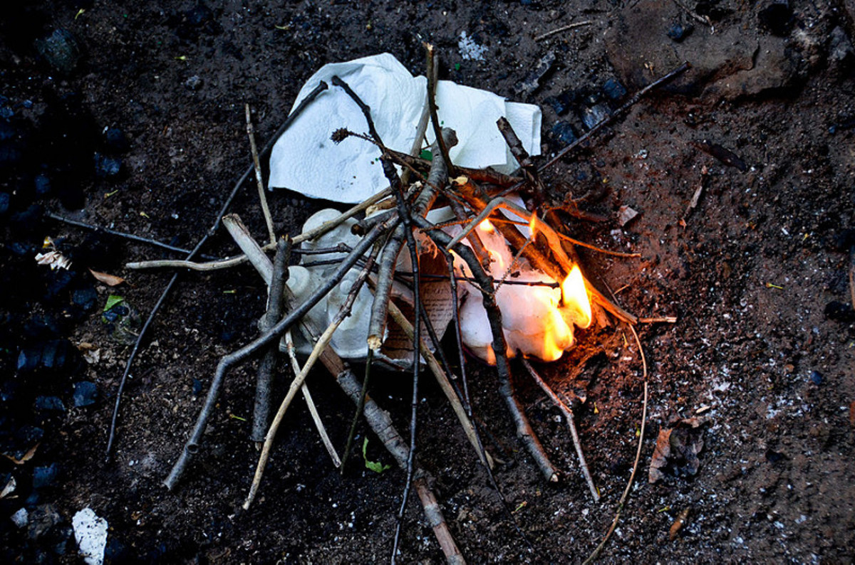 Dry scraps of paper, cotton, or wood are commonly used to get any type of fire going.