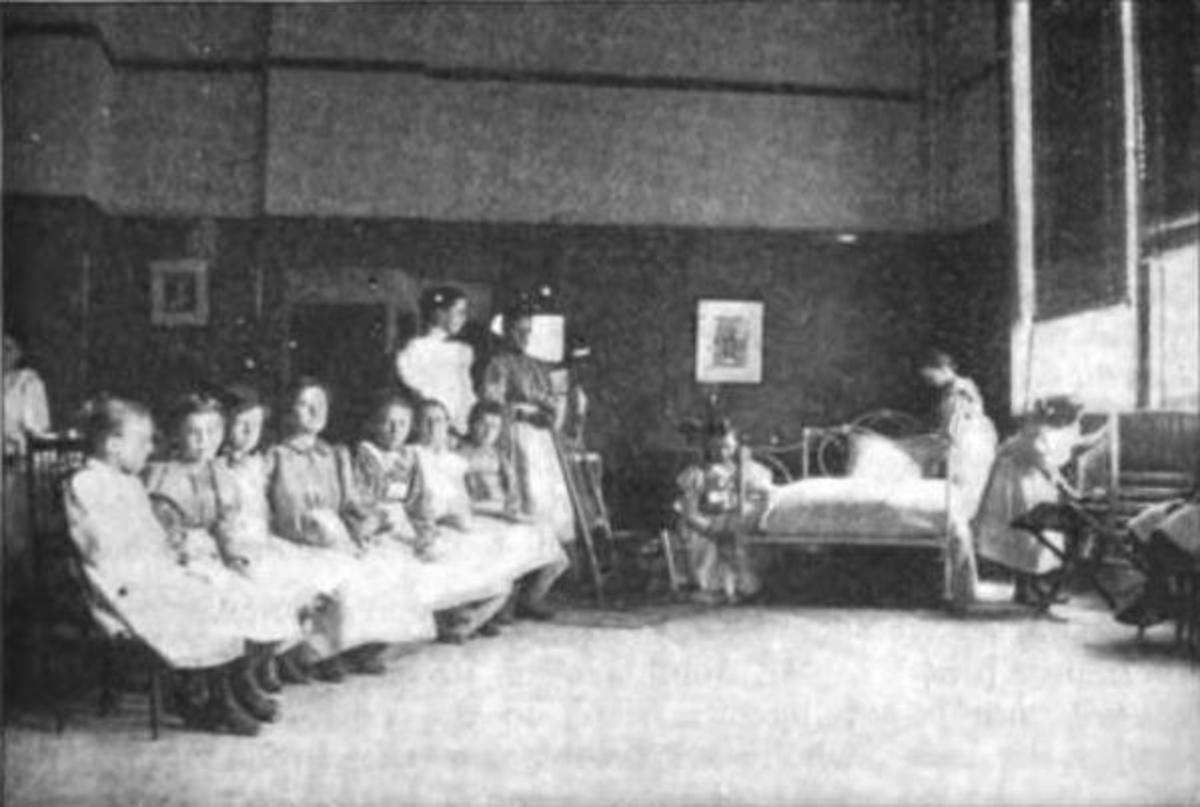"Class in Bed Making: From 1898 ""vacation school"""