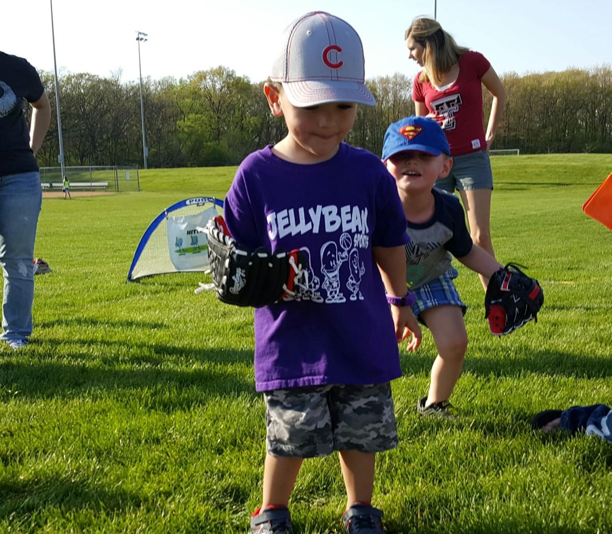 Boy fielding