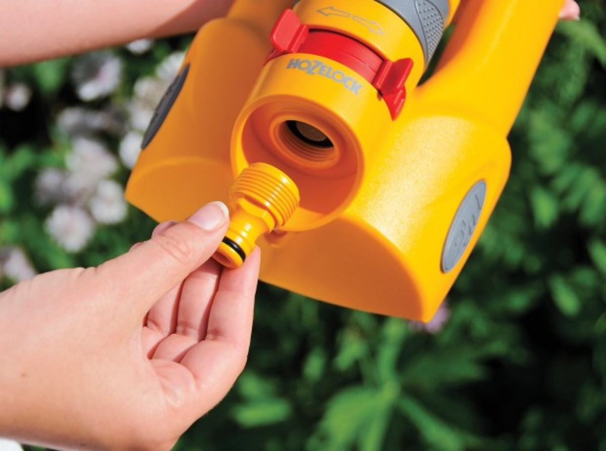 An accessory fitting is used to connect a sprinkler to a hose