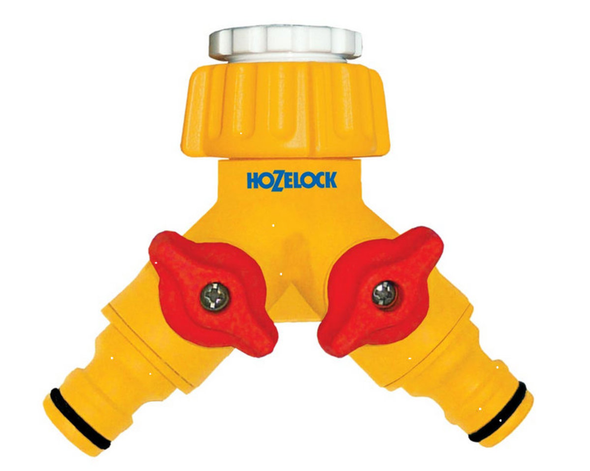 Hozelock splitter for connecting two, quick- release hoses.