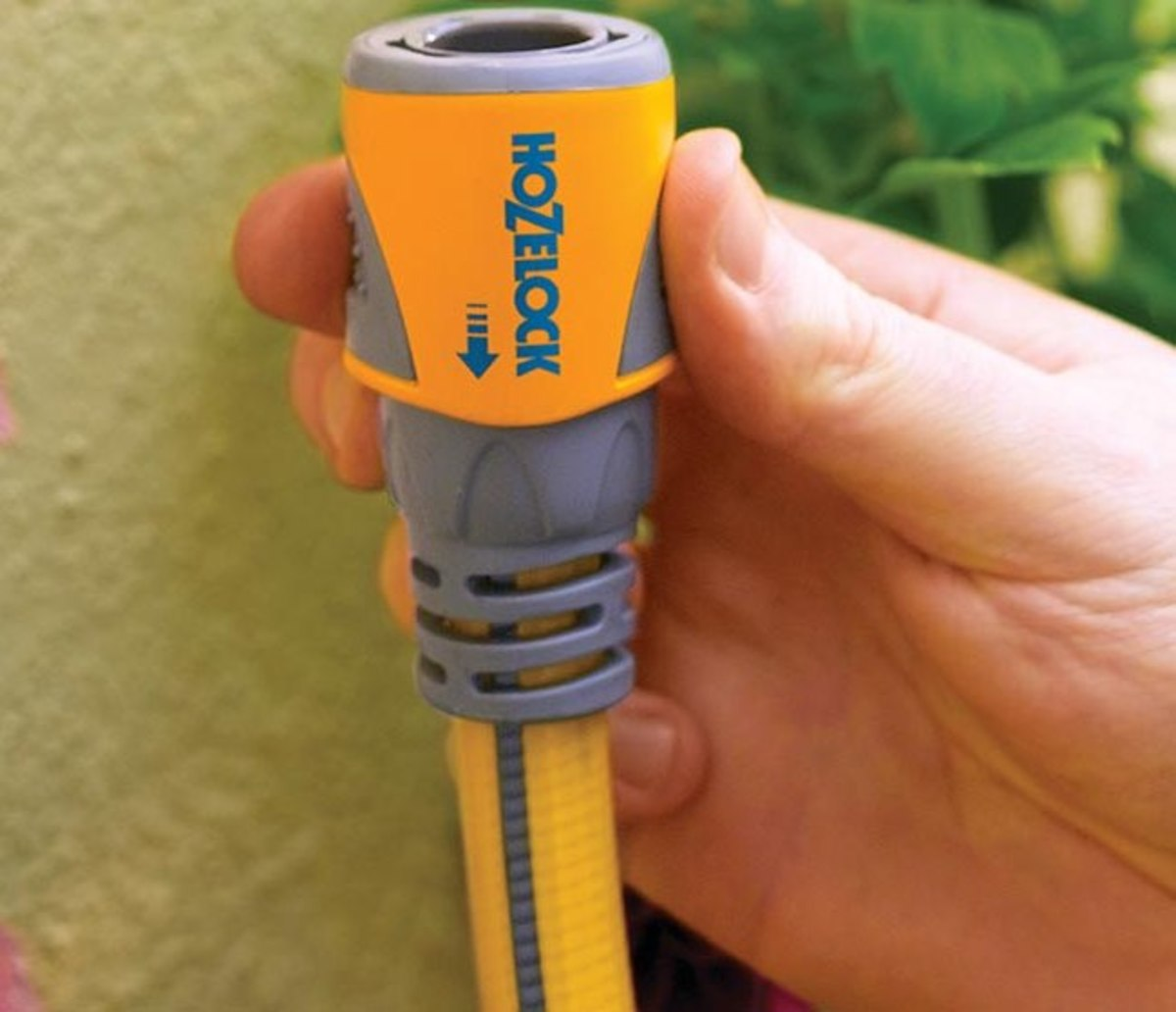 The hose end connector simply push fits on the connector on the tap.