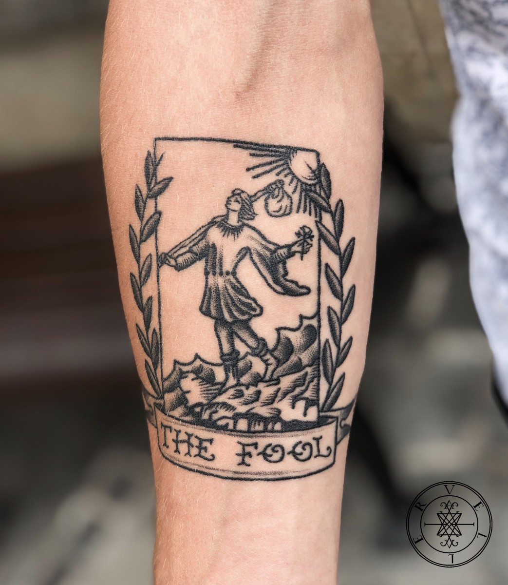 Fool Tarot Card Tattoo (After the  Rider-Waite Deck) by Veller Ádám