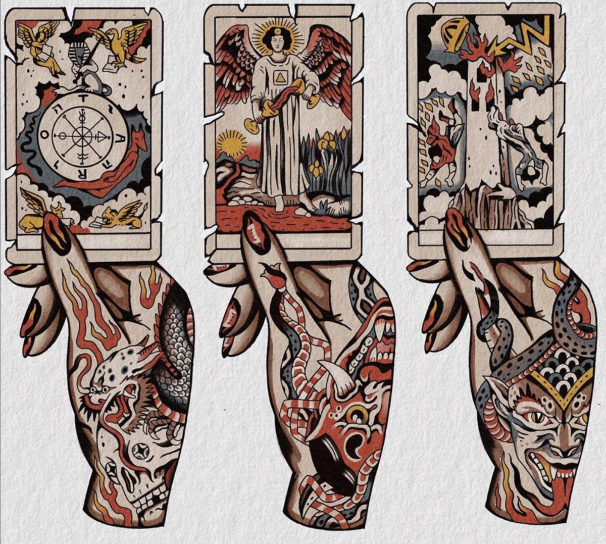 Caige Baker is an expert tattooist who often works with tarot imagery. His tattoos are worth traveling to Calgary, Alberta for. Find him on Instagram @caigebaker.