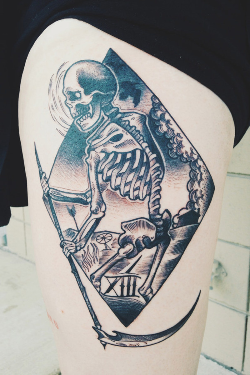 an interpretation of the death card from the tarot of marseille deck... done by emmanuel mendoza at ironcald in troy, mi.