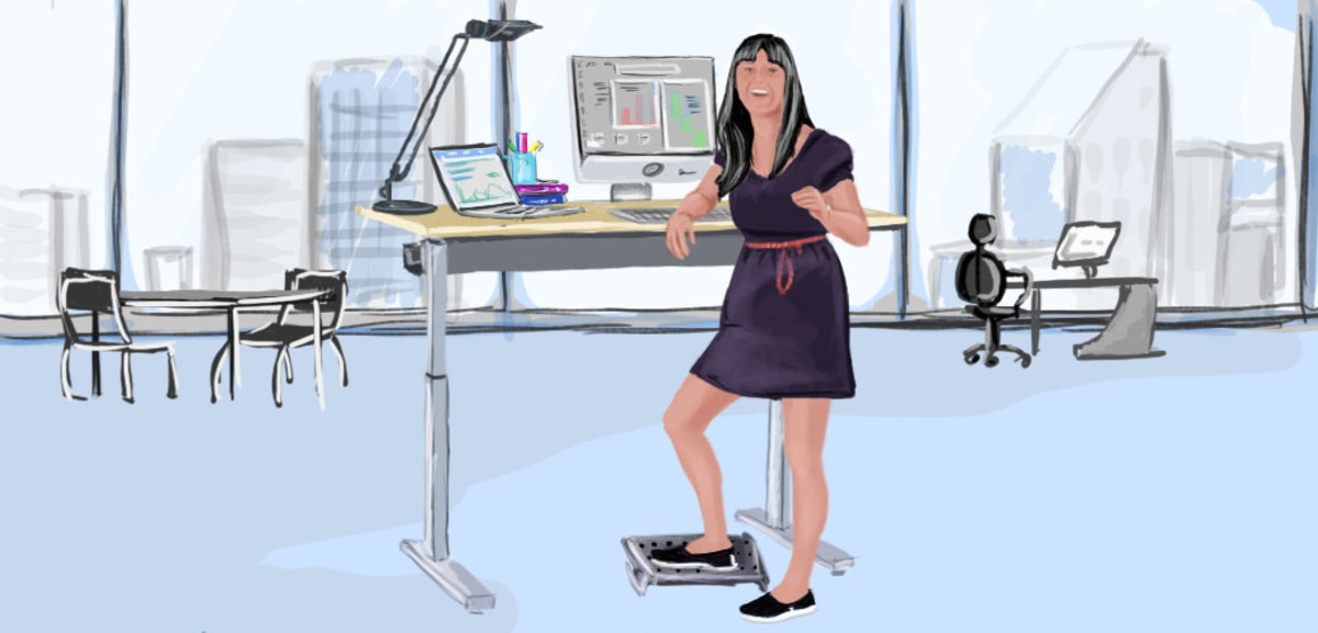Try to stand up and move as much as possible. Frequently stand up to walk, and consider getting a standing desk.