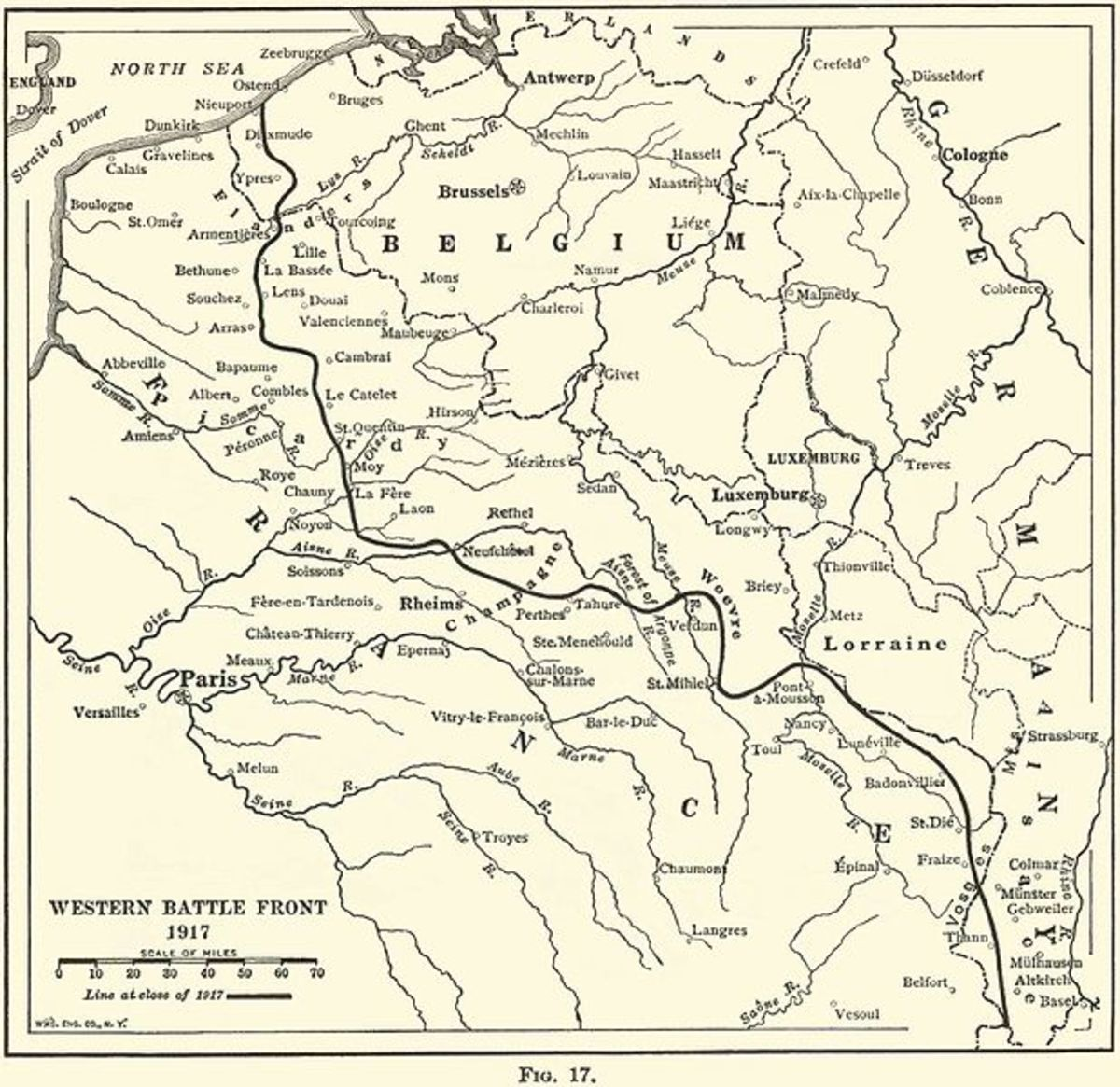 The bolded black line on the map shows where the trenches stretched from The North Sea to the Swiss border.