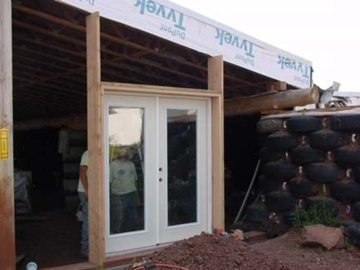 Installing French doors.