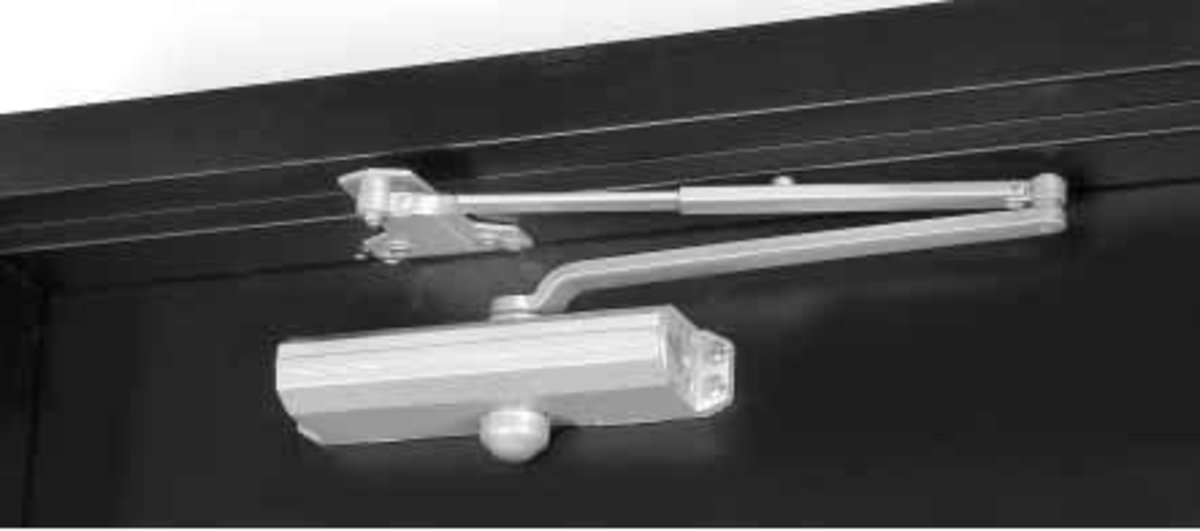 Surface mounted closer, parallel arm installation.