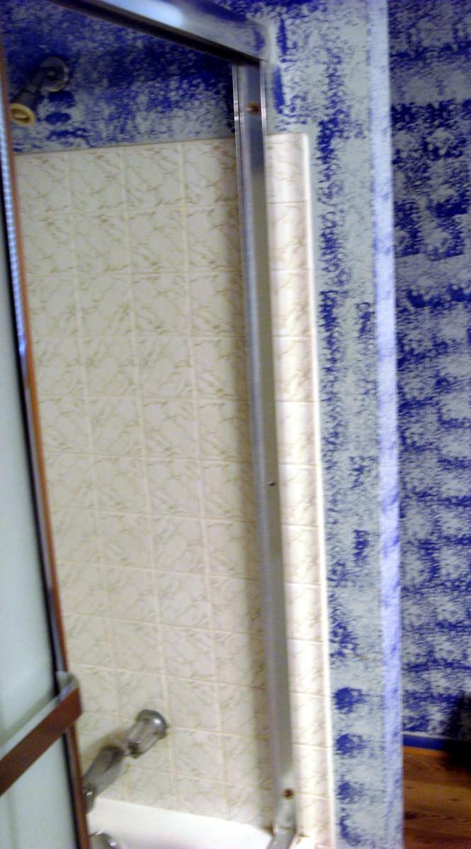 Side piece installed over ceramic tile