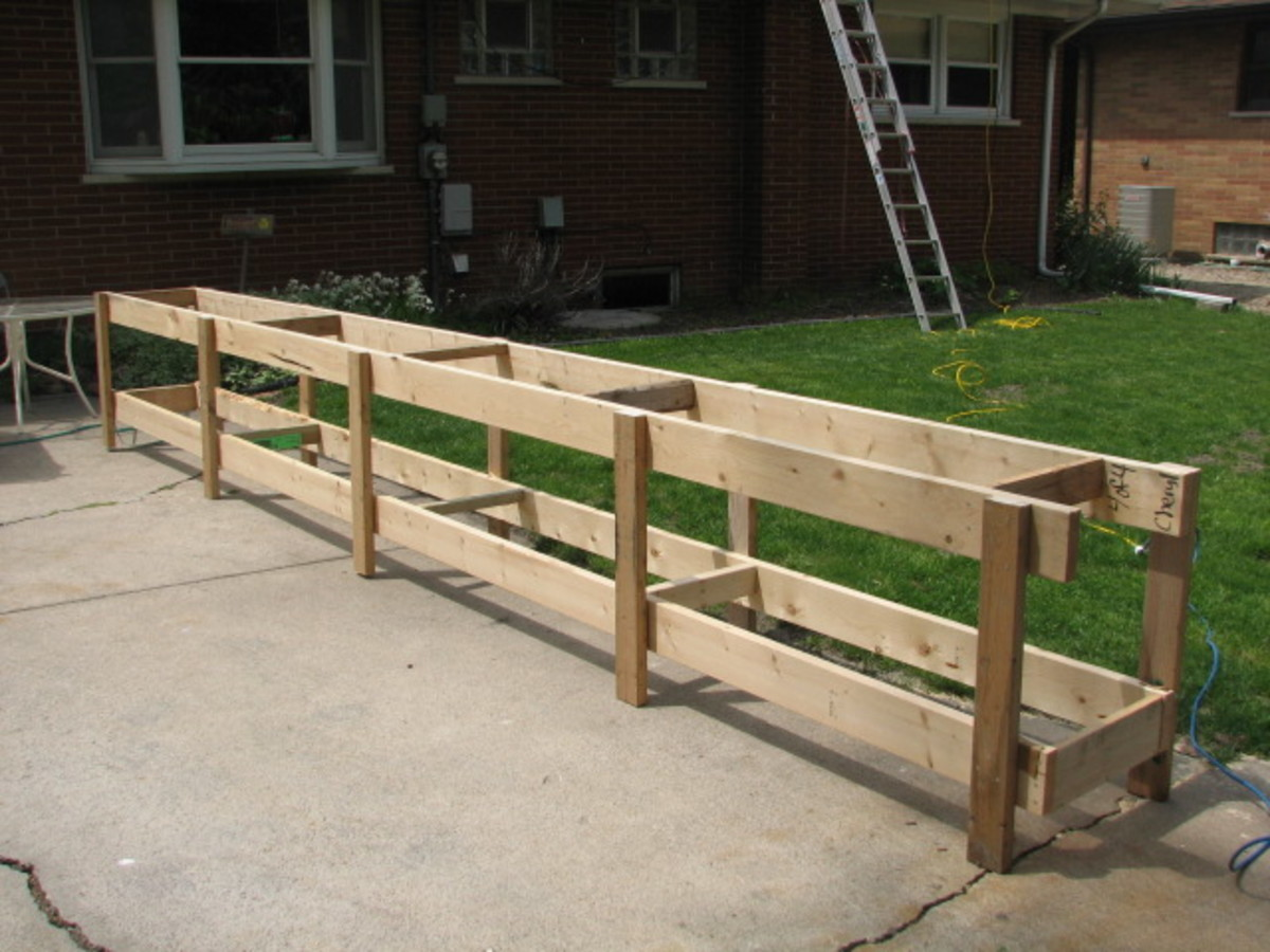 Adding legs to the crate boards while they were still banded together made the frame for a perfect workbench for the long steel roofing panels