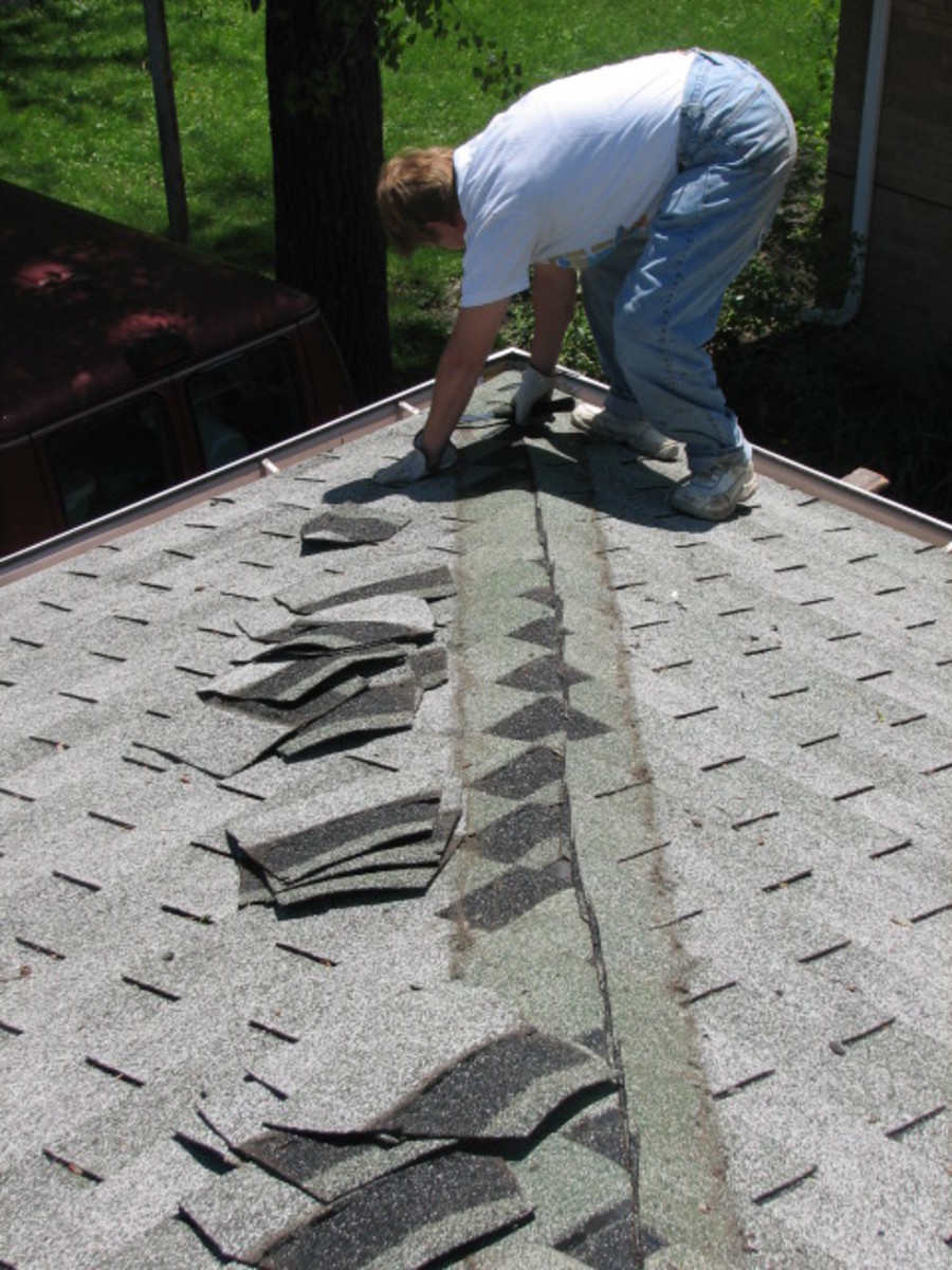 removing the extra layer of asphalt shingles on one of the ridges to make a flush surface for the foam board