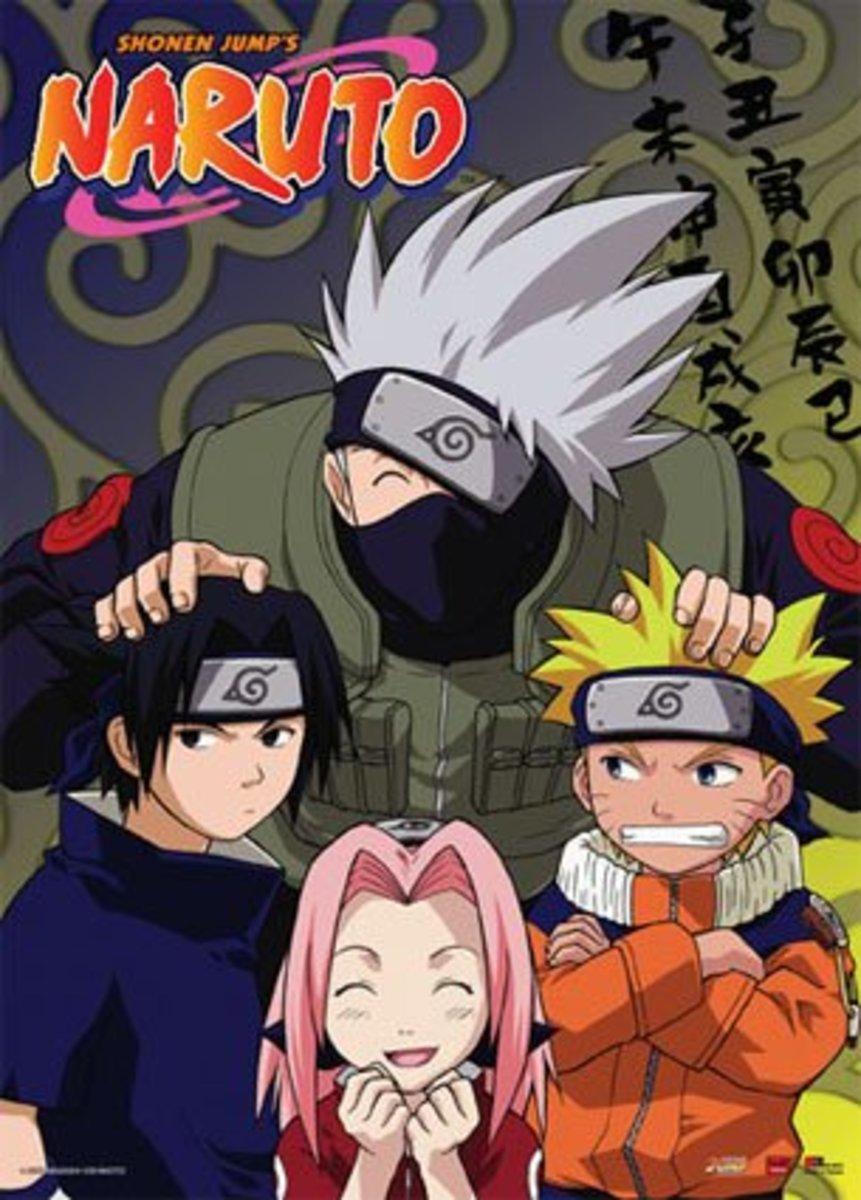 """Sasuke, Kakashi, Sakura, and Naruto from """"Naruto"""""""