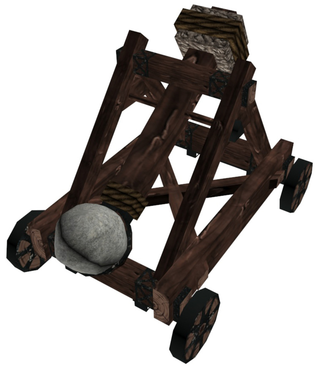 A Roman catapult was used to fire heavy objects at the enemy.