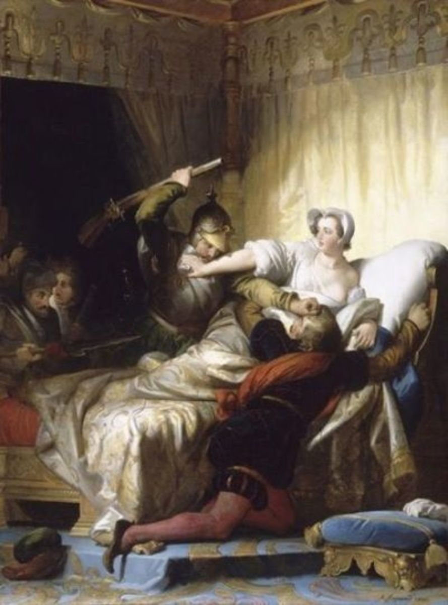 Scene in the bedroom of Marguerite de Valois during the St. Bartholomew's Day massacre--In The Louvre Museum