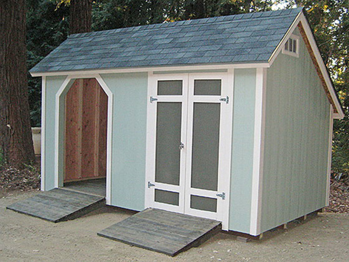 A saltbox shed can hold up against heavy winds and snow.