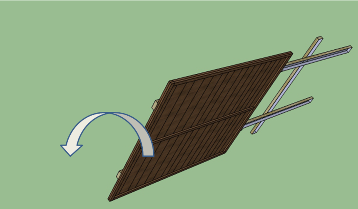 Roll the whole structure over and position the bottom of the legs at the bottom of the empty gap where you want your fence panel to end up.