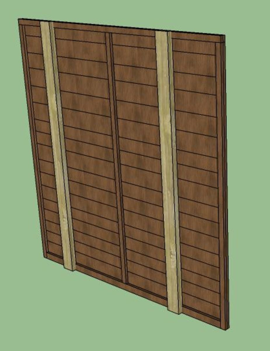 Once you've got the bottom of the panel neatly in between the posts, just remove the clamps that are holding the legs on and drop the panel into position.  Remove the two lengths of wood that you nailed on in step one, and you're done!