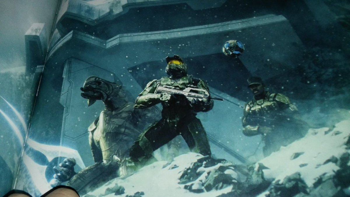 "The Master Chief (center) Arbiter (left) Johnson (right) Guilty Spark (top right) in the final mission ""Halo""."