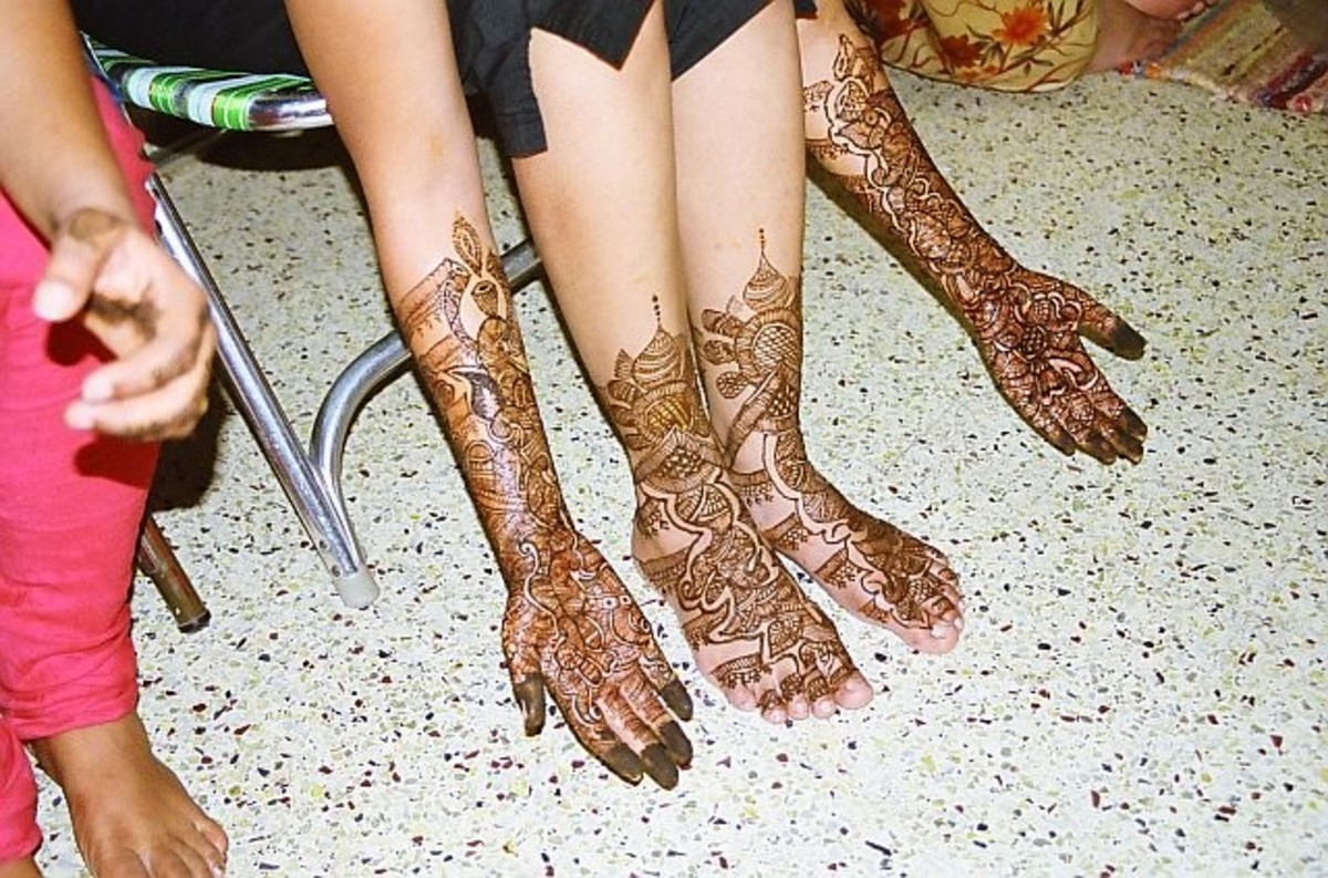 mehndi decorated hands, arms, legs and feet