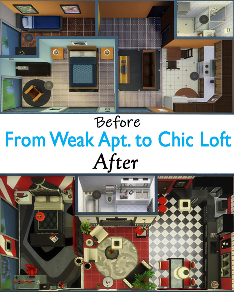 "Learn How to Use Build Mode in ""The Sims 4"": I turned this drab, boring apartment into a swanky luxury loft. I can hardly believe it's the same apartment!"