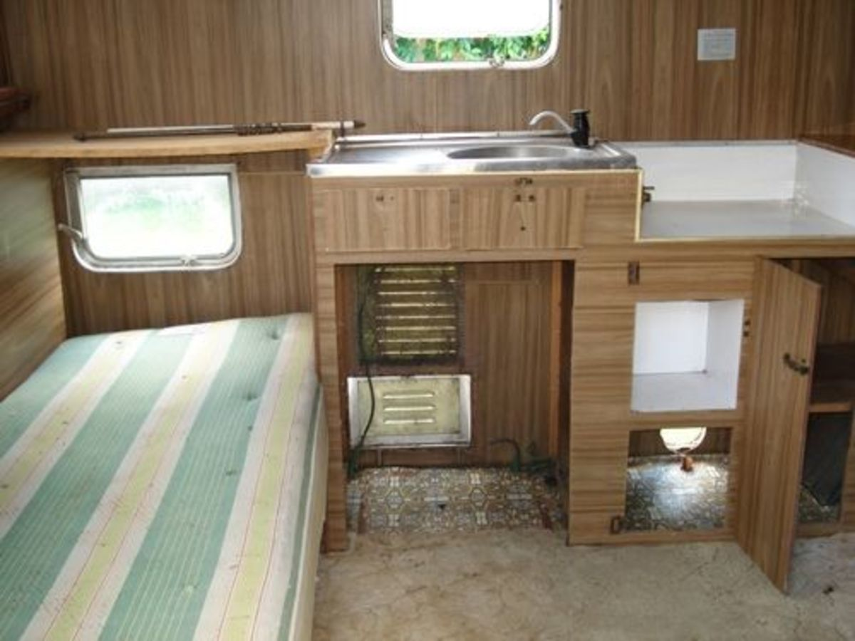 Inside the old van - very shabby and NOT chic.