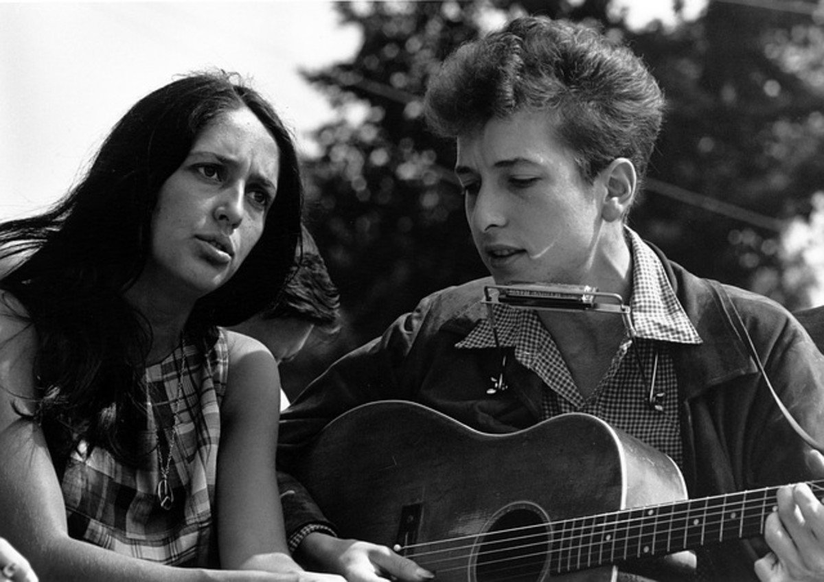 Bob Dylan with Joan Baez.  Dylan had a romance with Baez in the early 60s and she helped to bring him increased public exposure.  Later, she wrote the song Diamonds and Rust about their romance.